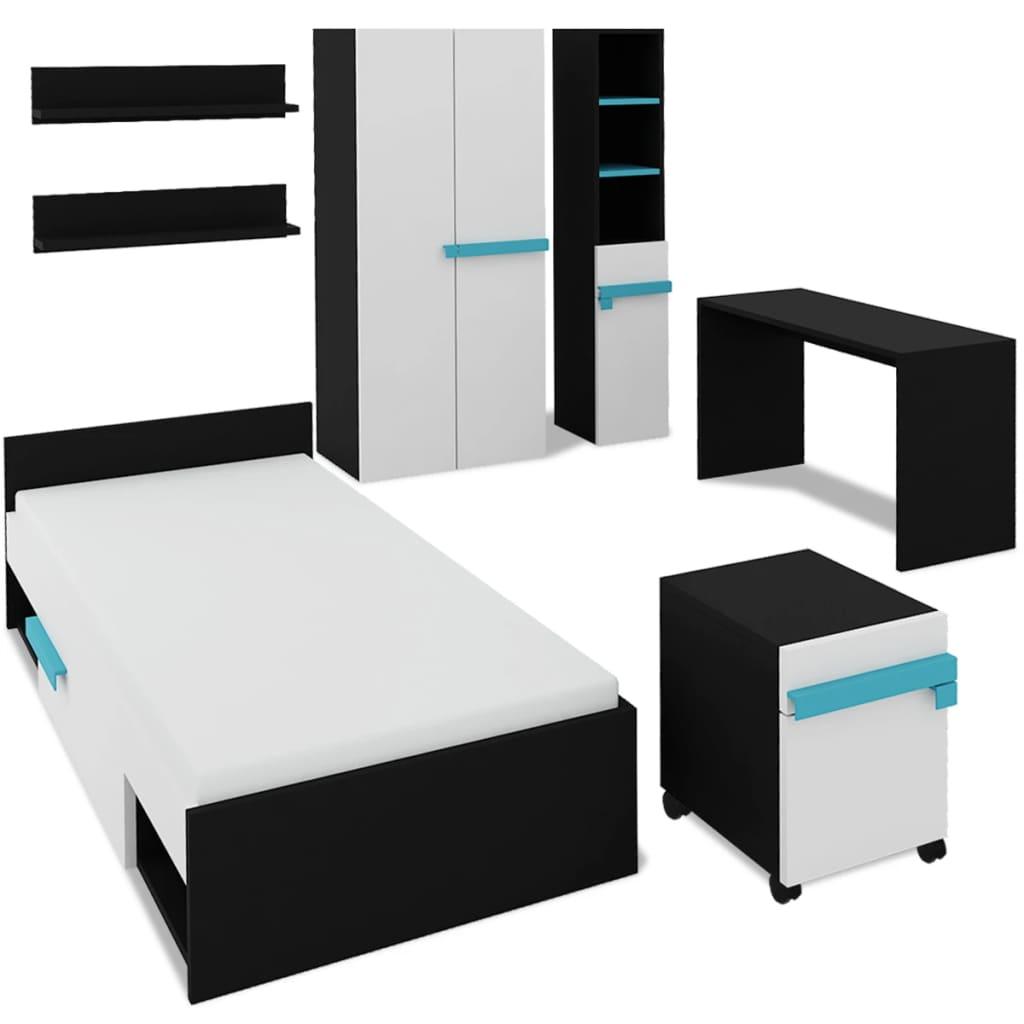 vidaXL Kinderkamer meubelset met matras 8-delig blauw