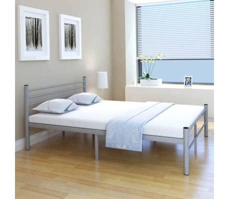 der vidaxl doppelbett mit matratze metall grau 140x200 cm. Black Bedroom Furniture Sets. Home Design Ideas