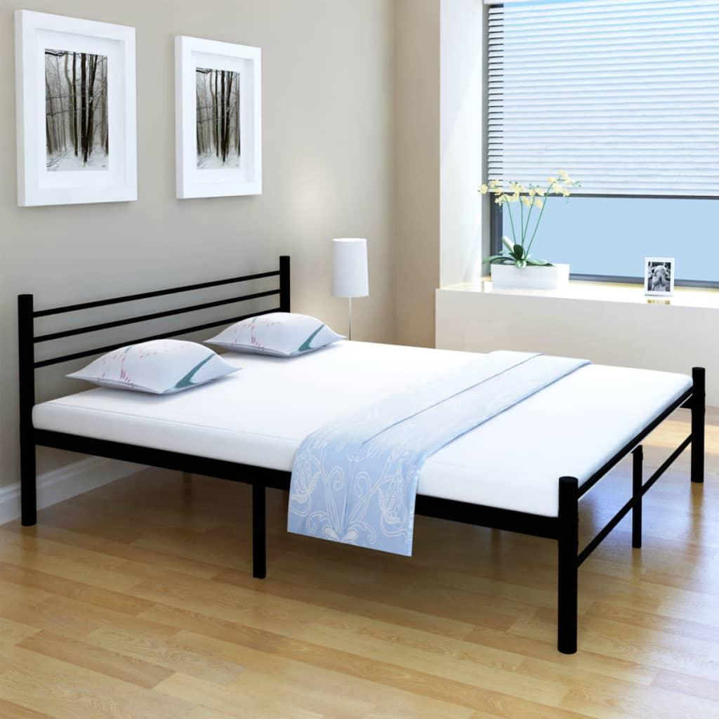 vidaXL 160x200 cm Fekete fém franciaágy matraccal