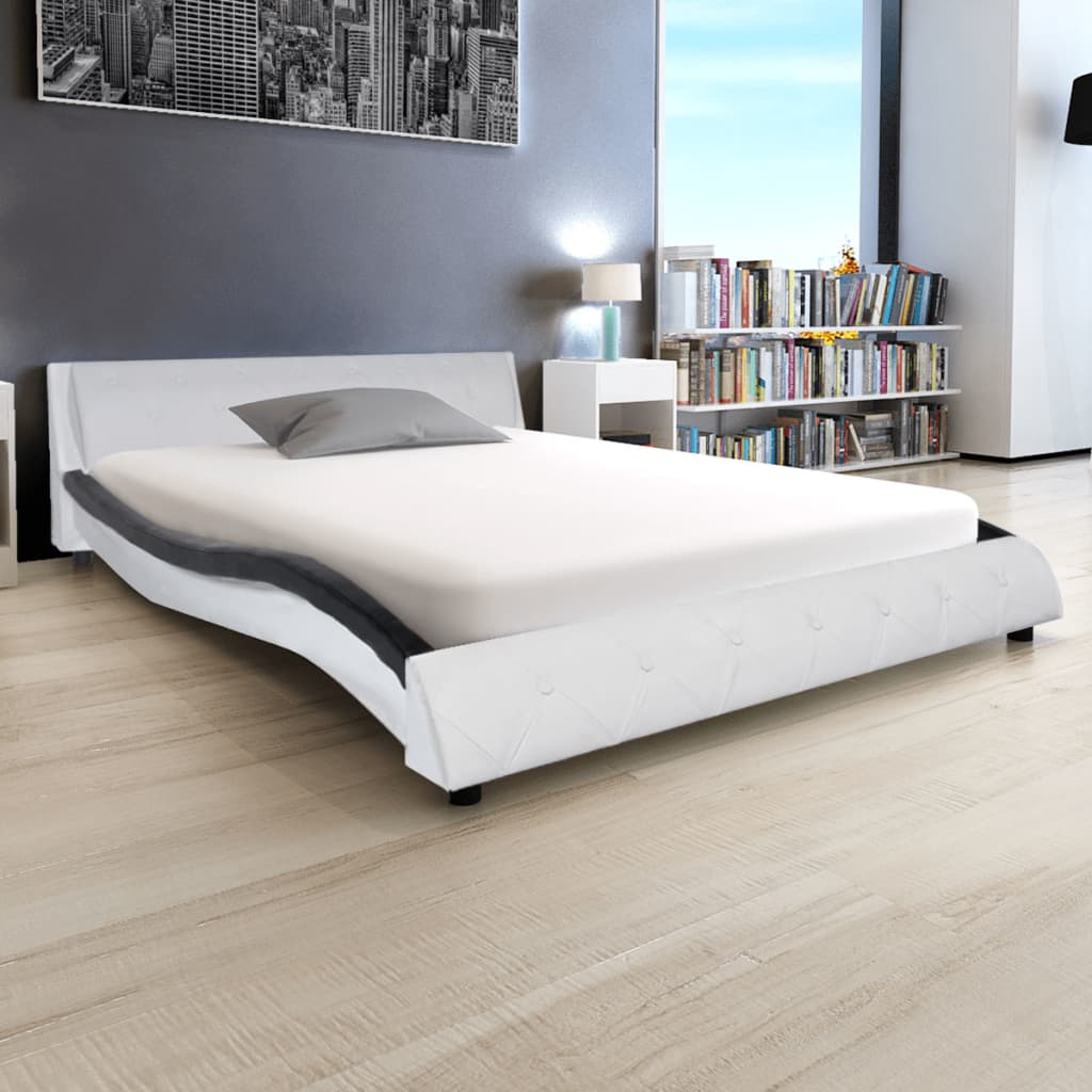 vidaXL 140x200 cm LED lámpás műbőr ágy memóriahabos matraccal fekete és fehér