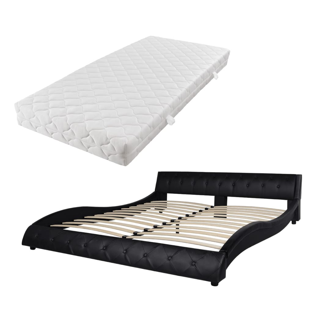 vidaXL Bed met matras 180x200 cm zwart kunstleer