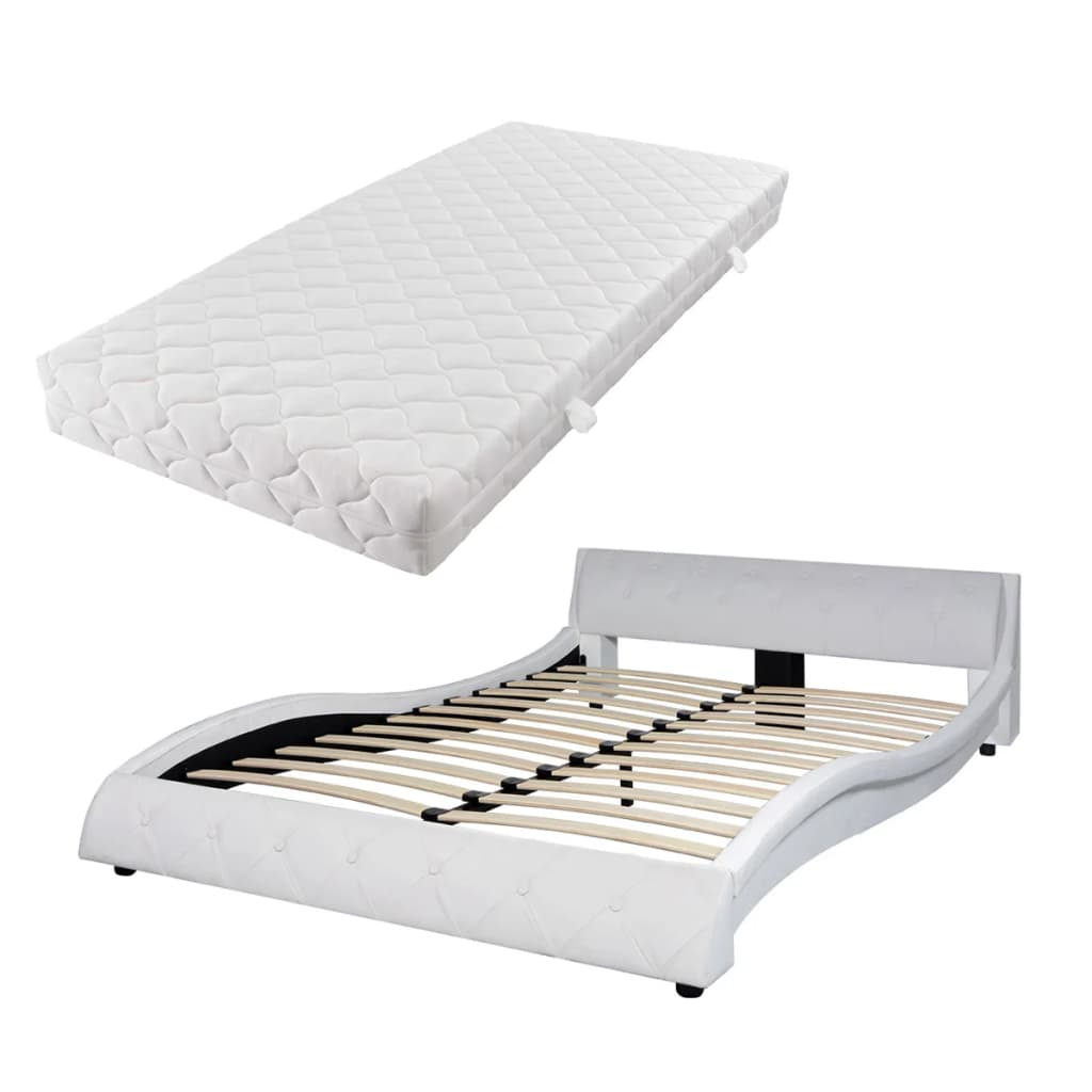 acheter vidaxl lit avec matelas 140 x 200 cm cuir artificiel blanc pas cher. Black Bedroom Furniture Sets. Home Design Ideas