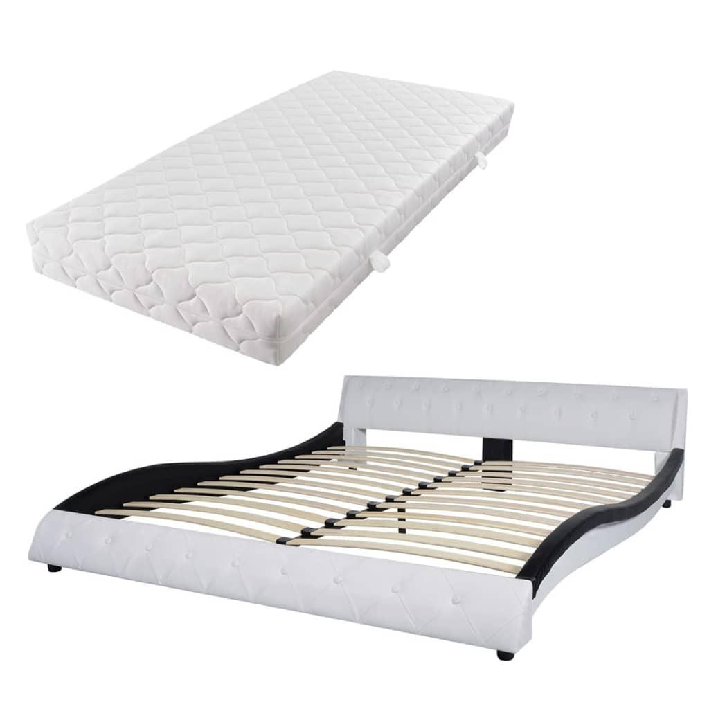 vidaXL Bed met matras 180x200 cm zwart-wit kunstleer
