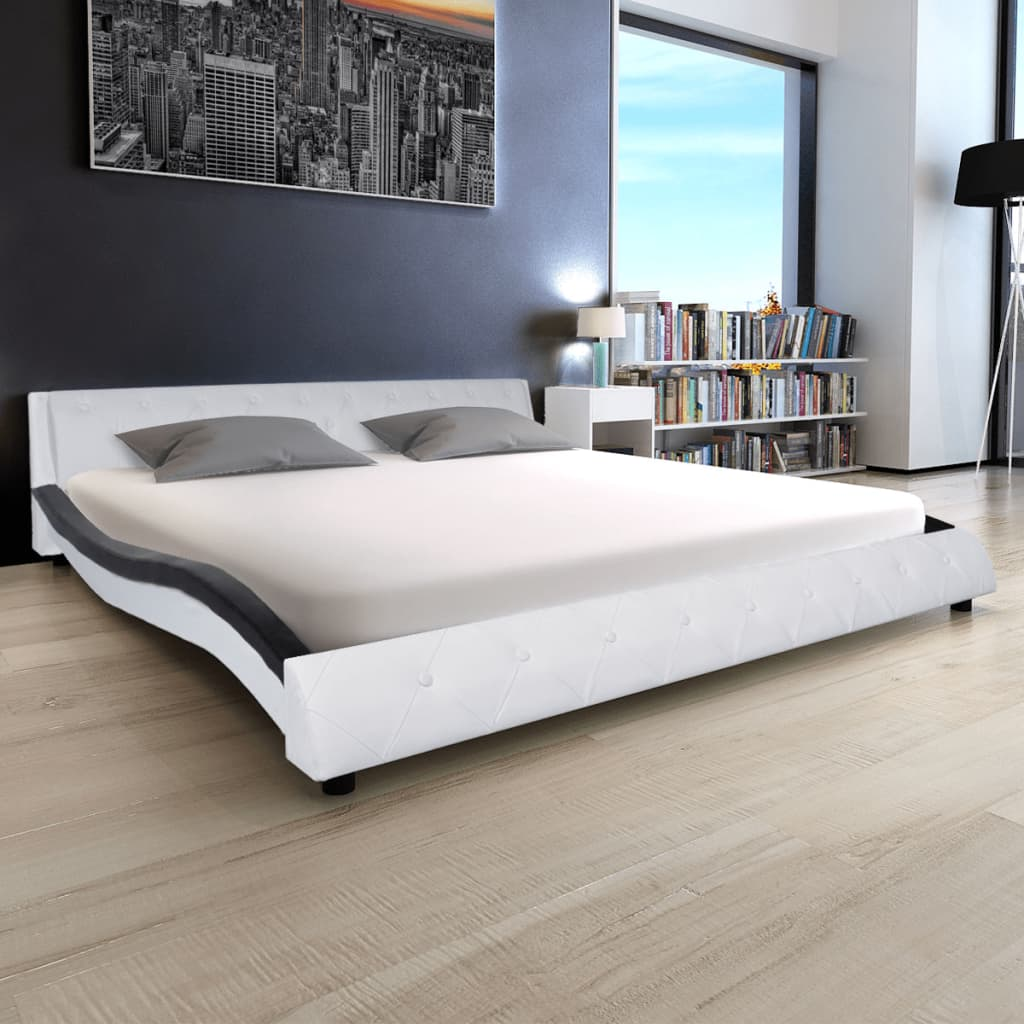 vidaXL 180x200 cm Fekete és fehér műbőr ágy matraccal