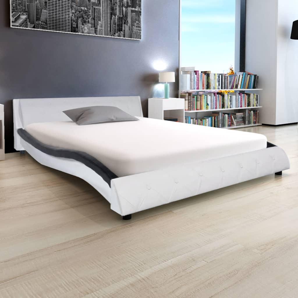 vidaXL 140x200 cm műbőr ágy matraccal fekete és fehér