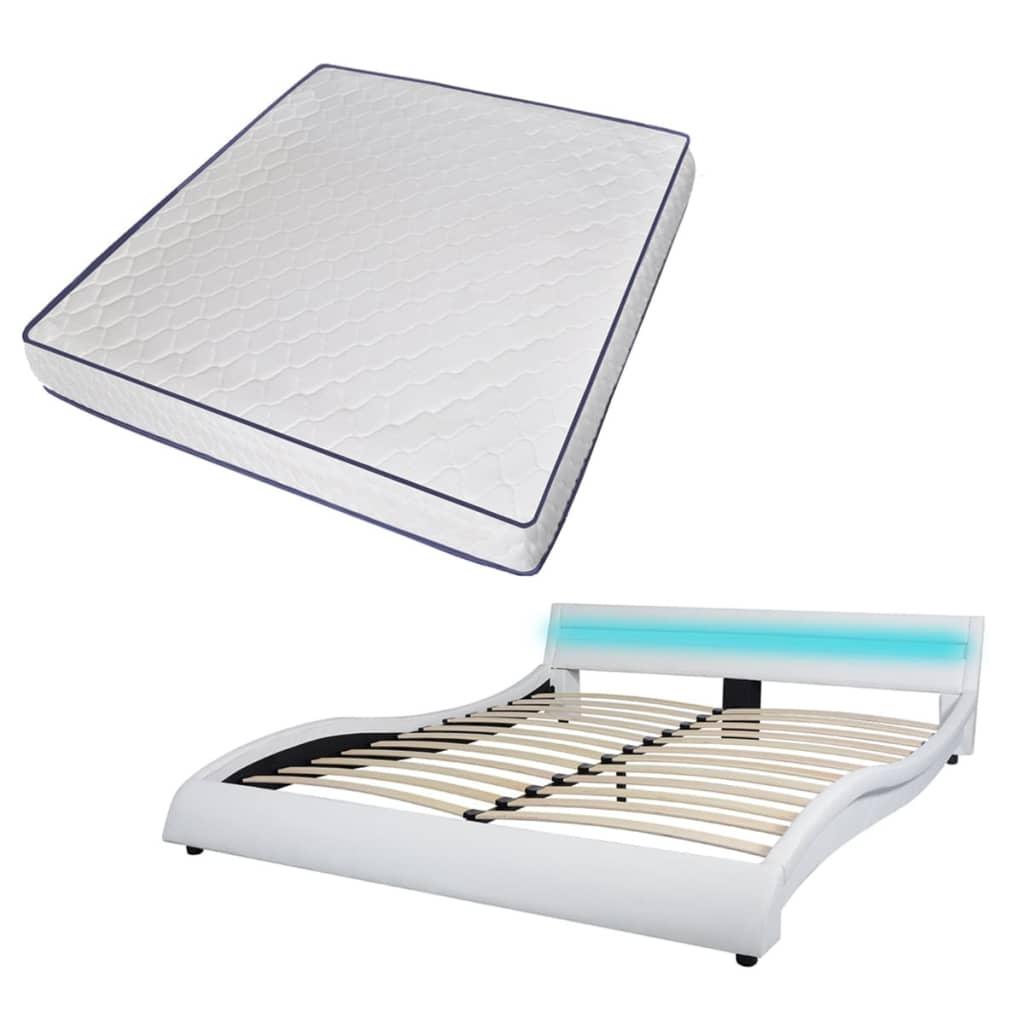 vidaXL Bed met LED en traagschuimmatras kunstleer 180x200 cm wit