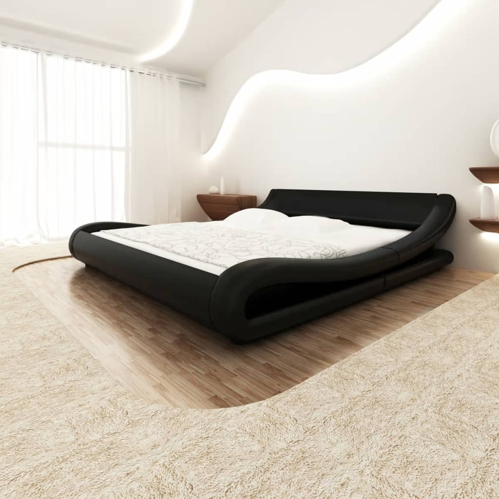 vidaXL 140x200 cm fekete hullámos műbőr ágy memóriahabos matraccal