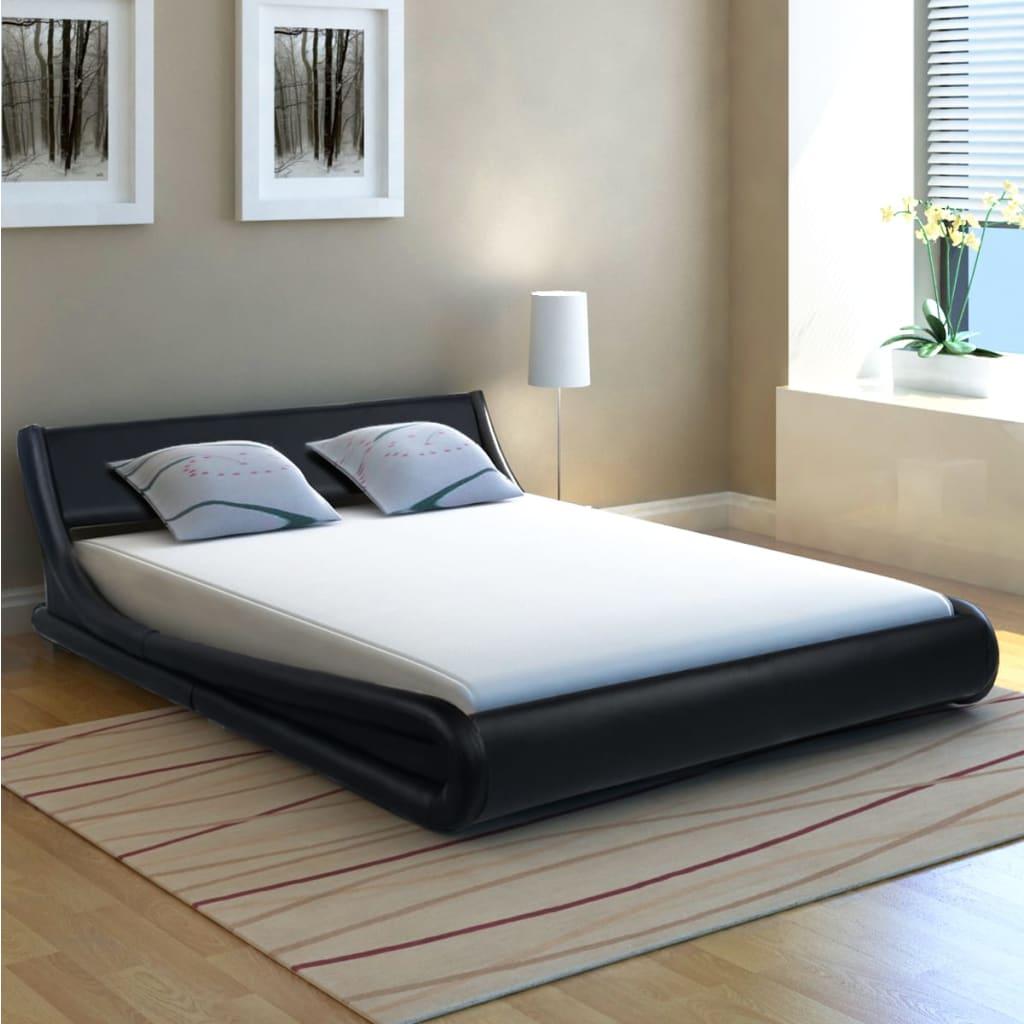 vidaXL 140x200 cm ívelt műbőr ágy matraccal fekete