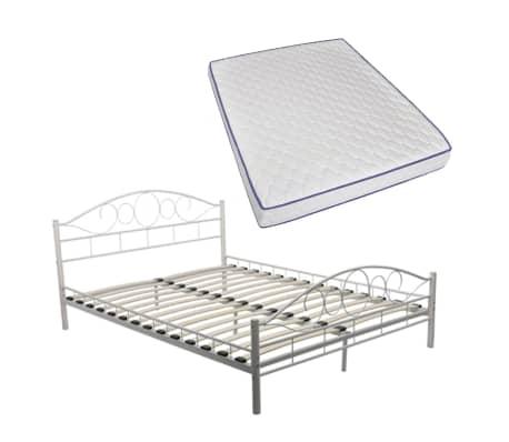 vidaxl doppelbett mit memoryschaum matratze metall wei 160x200 cm im vidaxl trendshop. Black Bedroom Furniture Sets. Home Design Ideas