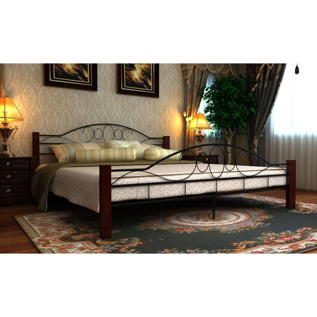 vidaXL 160x200 cm fém franciaágy matraccal fekete