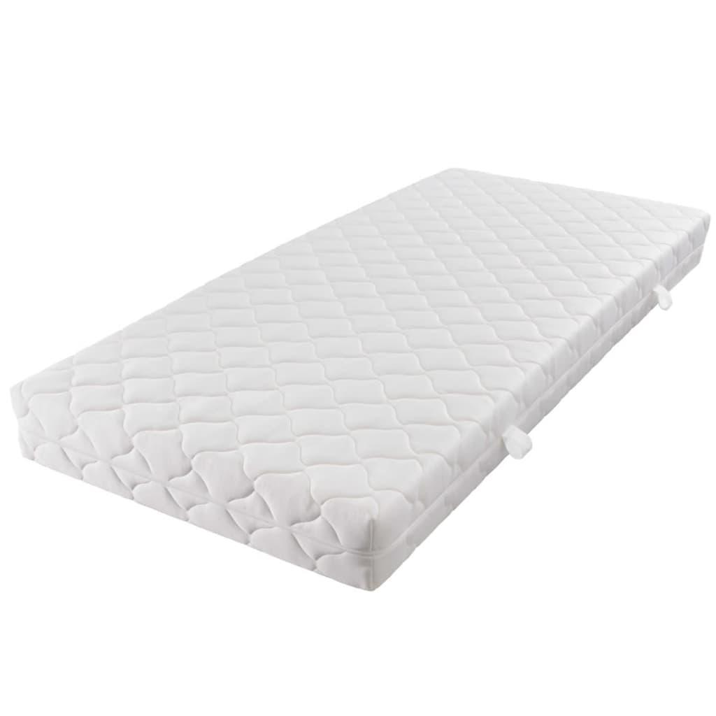 Handla vidaXL Dubbelsäng med madrass metall 160×200 cm vit vidaXL se