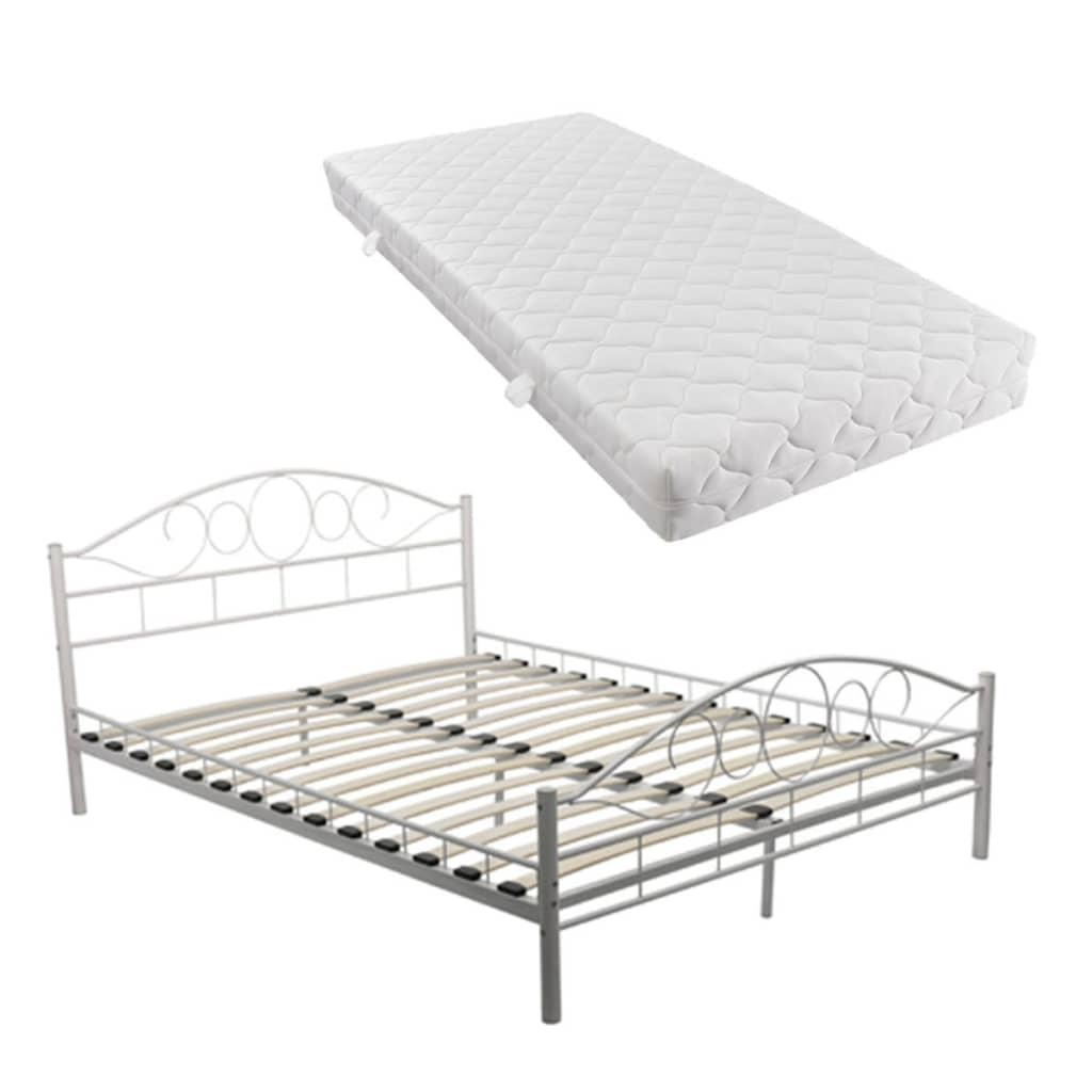 acheter vidaxl lit double avec matelas 160 x 200 cm m tal blanc pas cher. Black Bedroom Furniture Sets. Home Design Ideas