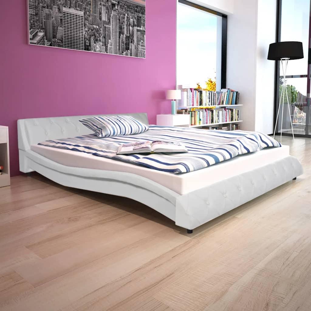 vidaXL 160x200 cm Fehér műbőr ágy memóriahabos matraccal