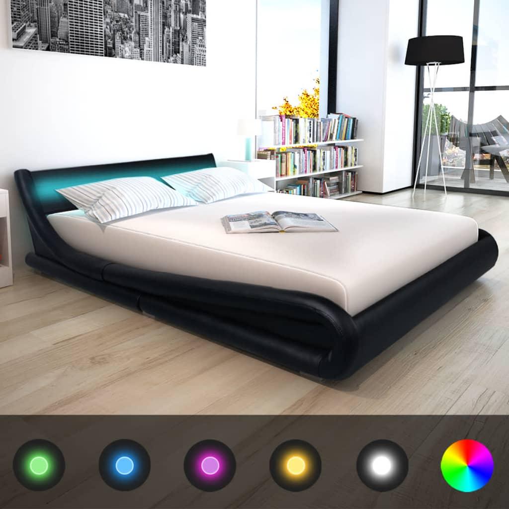 vidaXL 160x200 cm fekete LED-es műbőr ágy memóriahabos matraccal