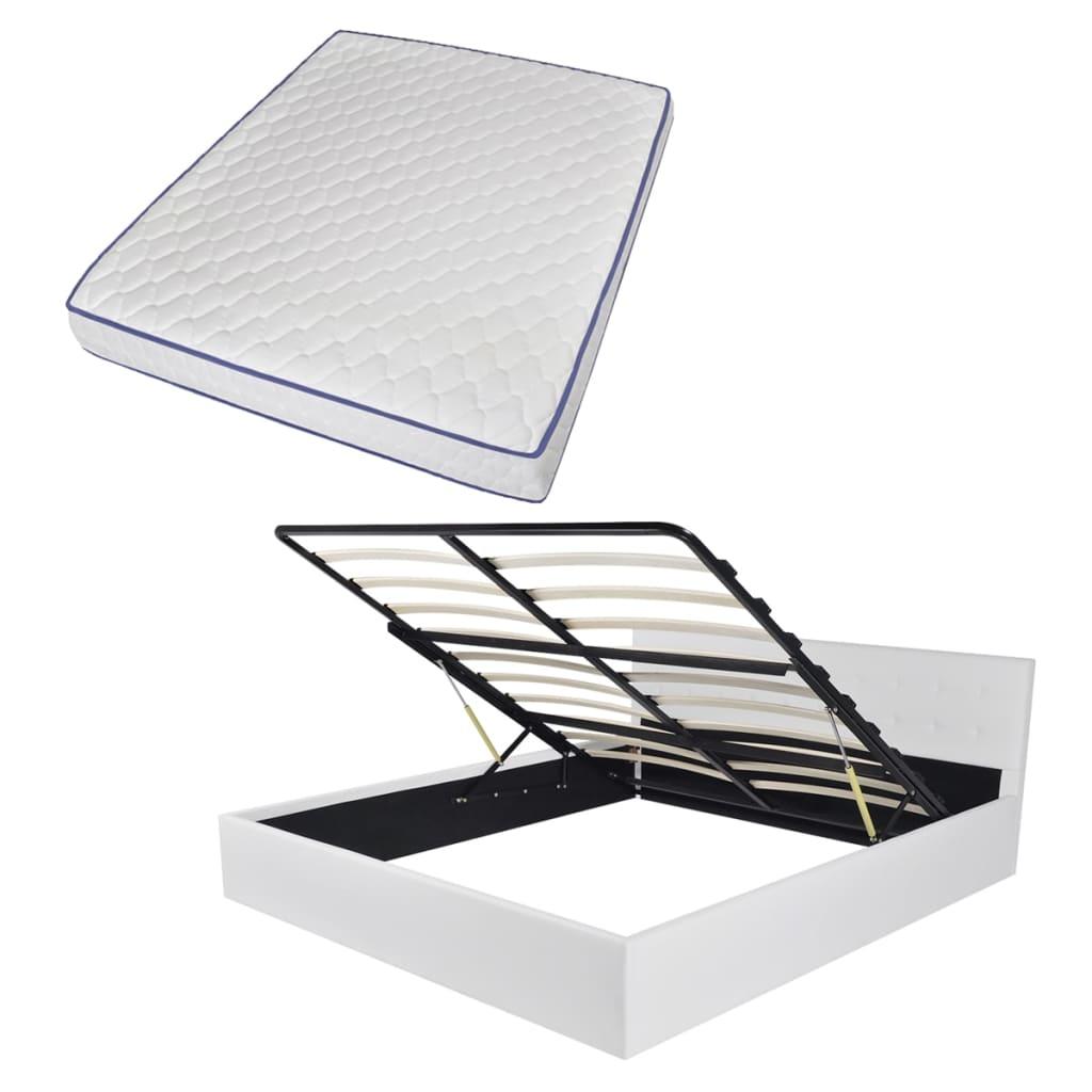 vidaXL Bed met gasveer traagschuim matras 160x200 cm kunstleer wit