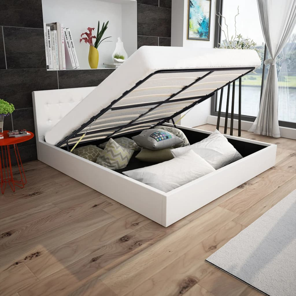 vidaXL 160x200 cm gázliftes műbőr ágy memóriahabos matraccal fehér