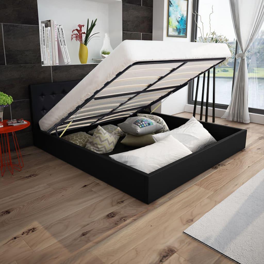 vidaXL 160x200 cm gázliftes műbőr ágy memóriahabos matraccal fekete