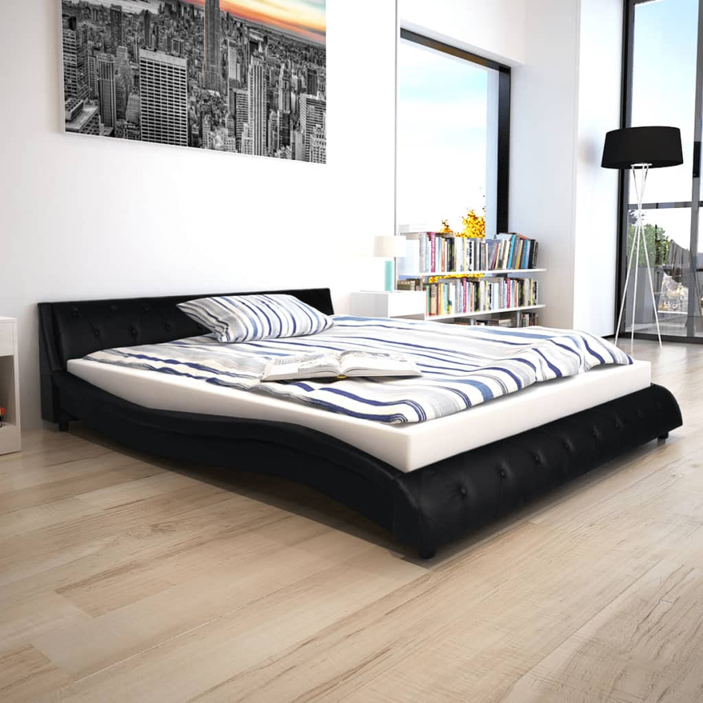 vidaXL 160x200 cm Fekete műbőr ágy memóriahabos matraccal