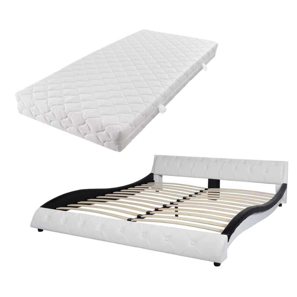 vidaXL Bed met matras kunstleer 160x200 cm zwart wit