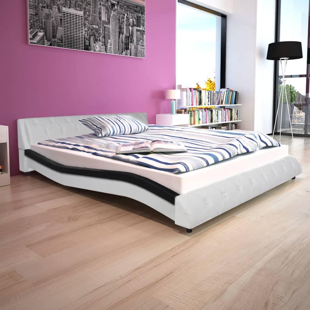 vidaXL 160x200 cm műbőr ágy matraccal fekete és fehér