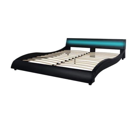 vidaxl lit avec led et matelas 160x200 cm cuir artificiel noir. Black Bedroom Furniture Sets. Home Design Ideas
