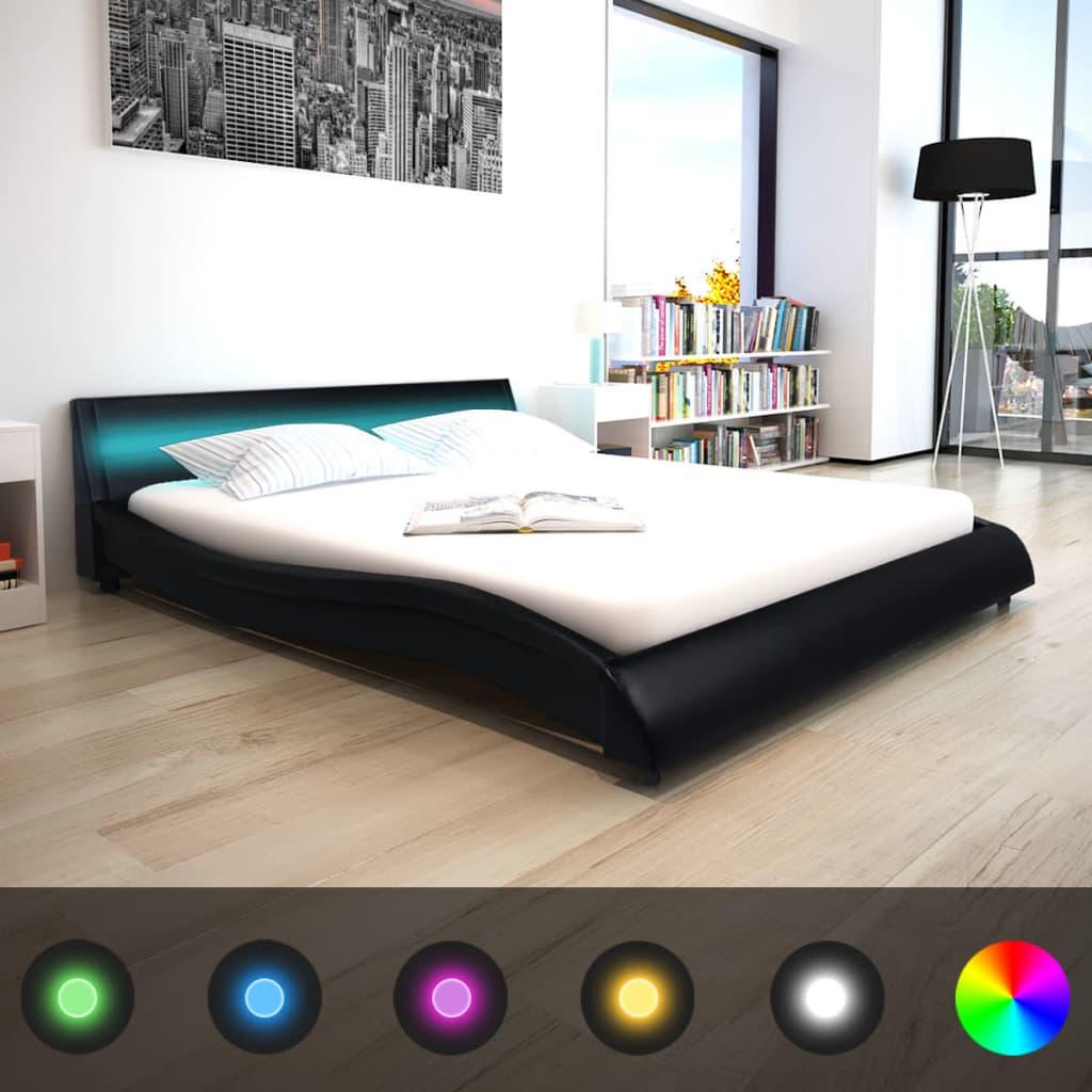 vidaXL 160x200 cm LED lámpás műbőr ágy matraccal fekete