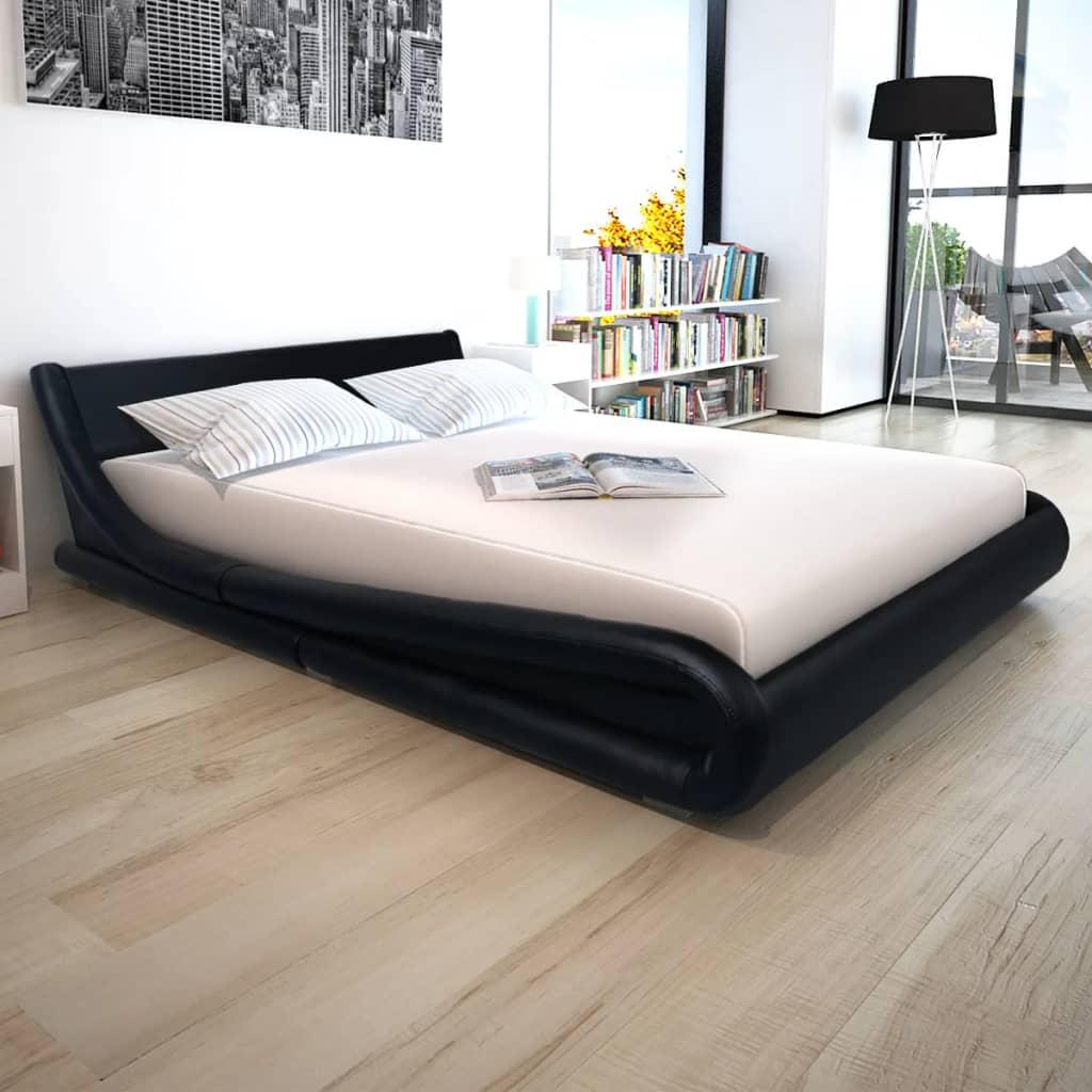 vidaXL 160x200 cm Fekete műbőr ágy matraccal