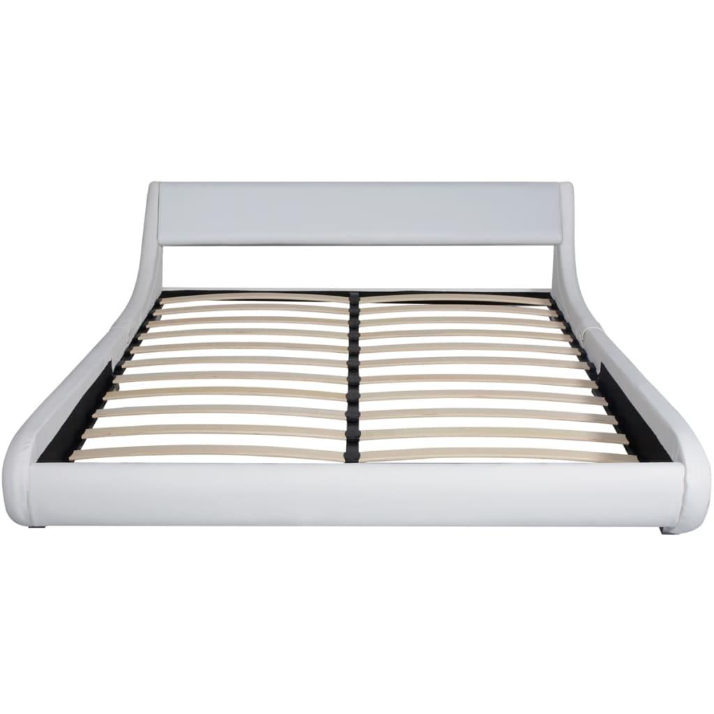 vidaxl bett mit matratze kunstleder 160x200 cm wei g nstig kaufen. Black Bedroom Furniture Sets. Home Design Ideas