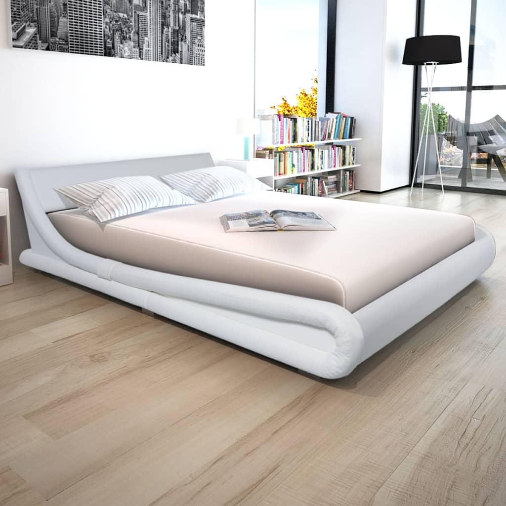 Vidaxl cama con colch n tapizado cuero artif blanco - Cabecero de cama acolchado ...