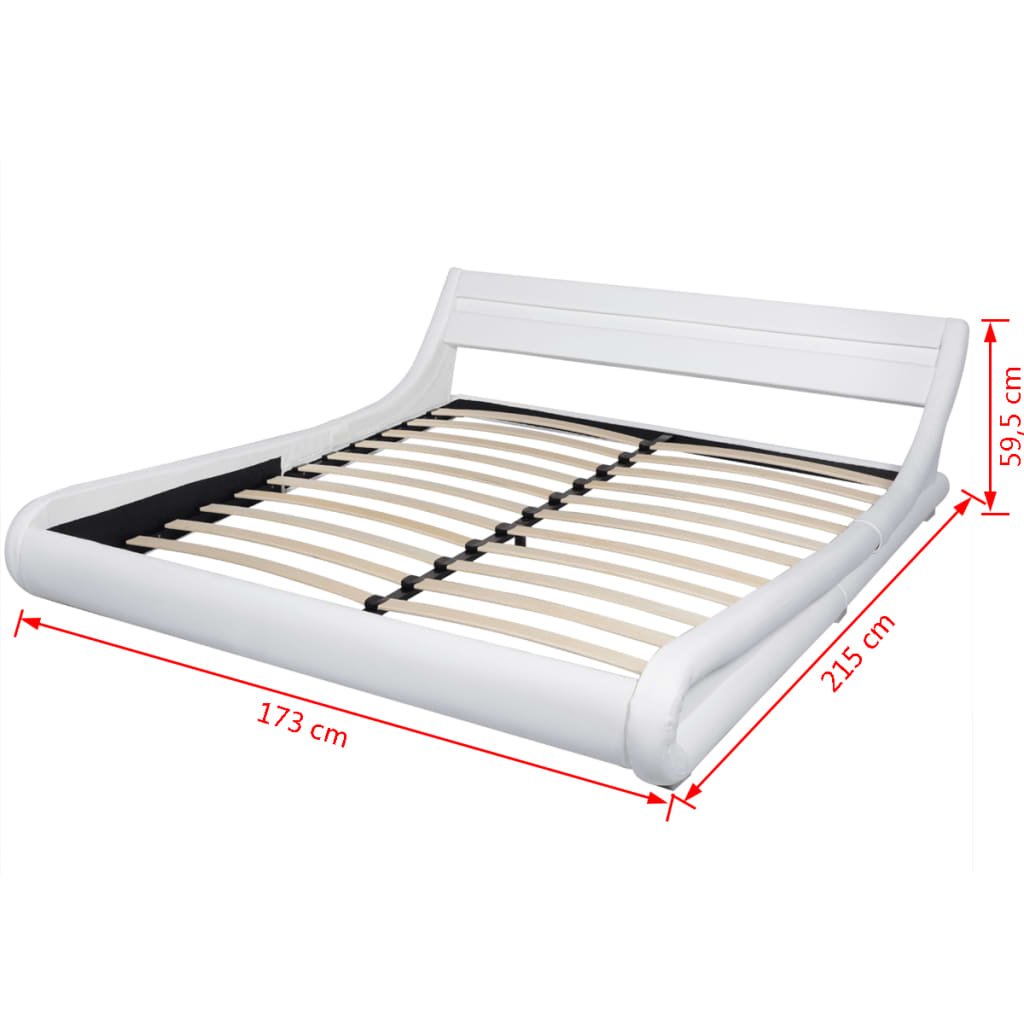 acheter vidaxl lit avec led et matelas 160 x 200 cm cuir artificiel blanc pas cher. Black Bedroom Furniture Sets. Home Design Ideas