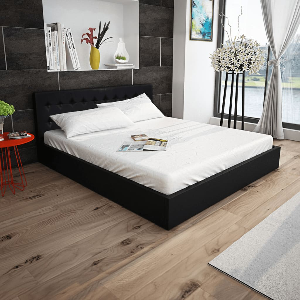 der vidaxl bett mit gasfeder und matratze kunstleder 160x200 cm schwarz online shop. Black Bedroom Furniture Sets. Home Design Ideas