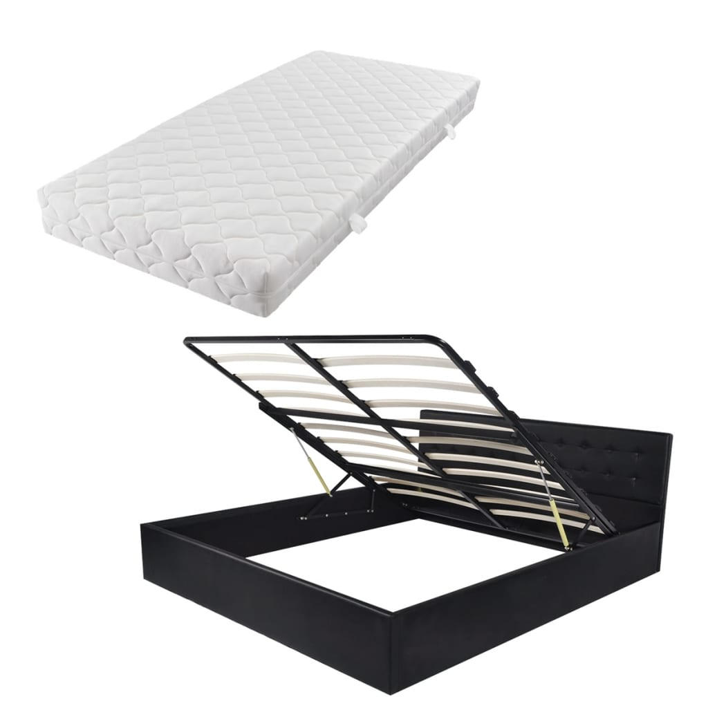 acheter vidaxl lit et matelas 160 x 200 cm cuir artificiel noir pas cher. Black Bedroom Furniture Sets. Home Design Ideas