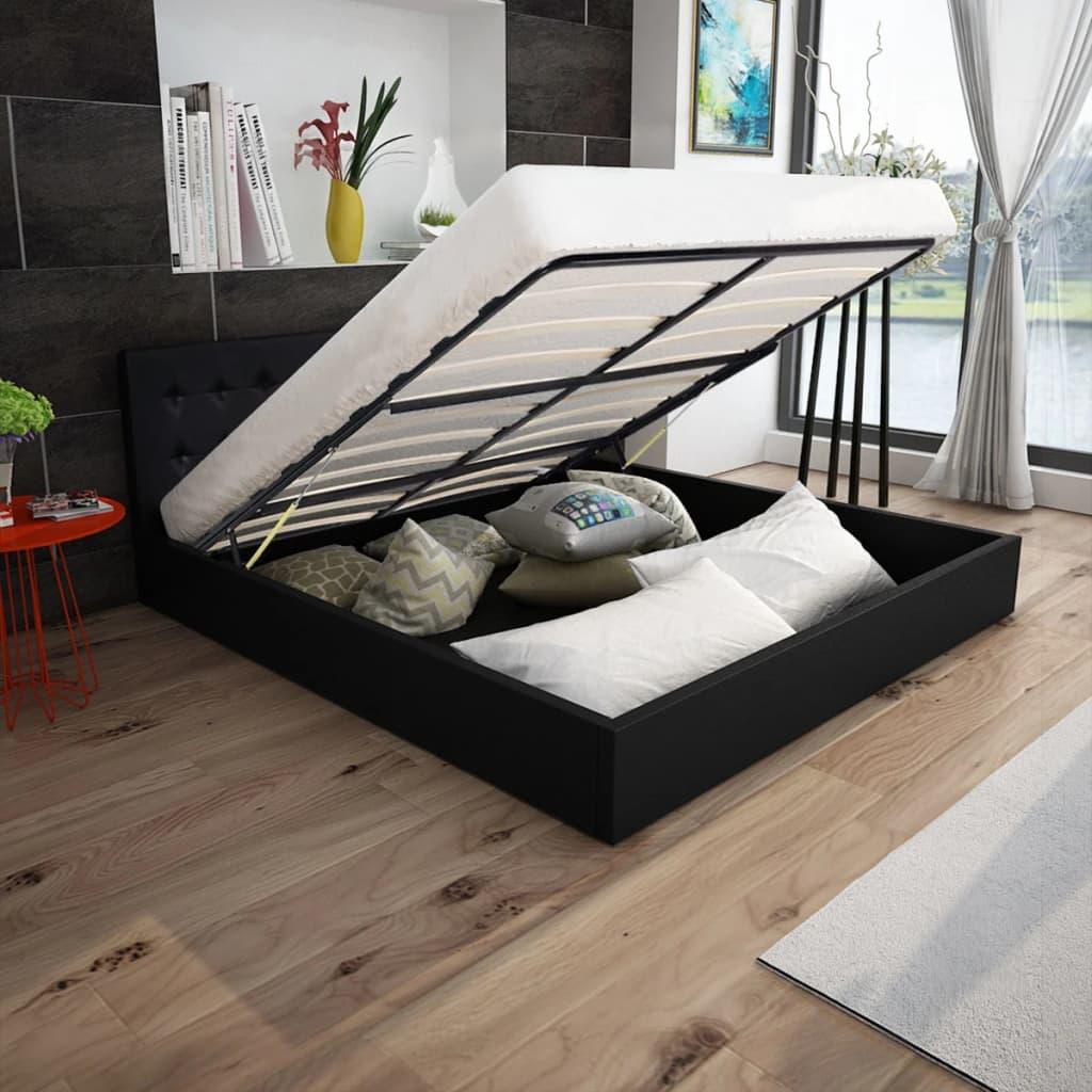 vidaXL 160x200 cm gázliftes műbőr ágy matraccal fekete