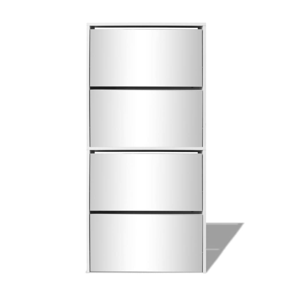 Vidaxl scarpiera 4 piani specchio scaffale portascarpe - Scarpiera specchio bianca ...