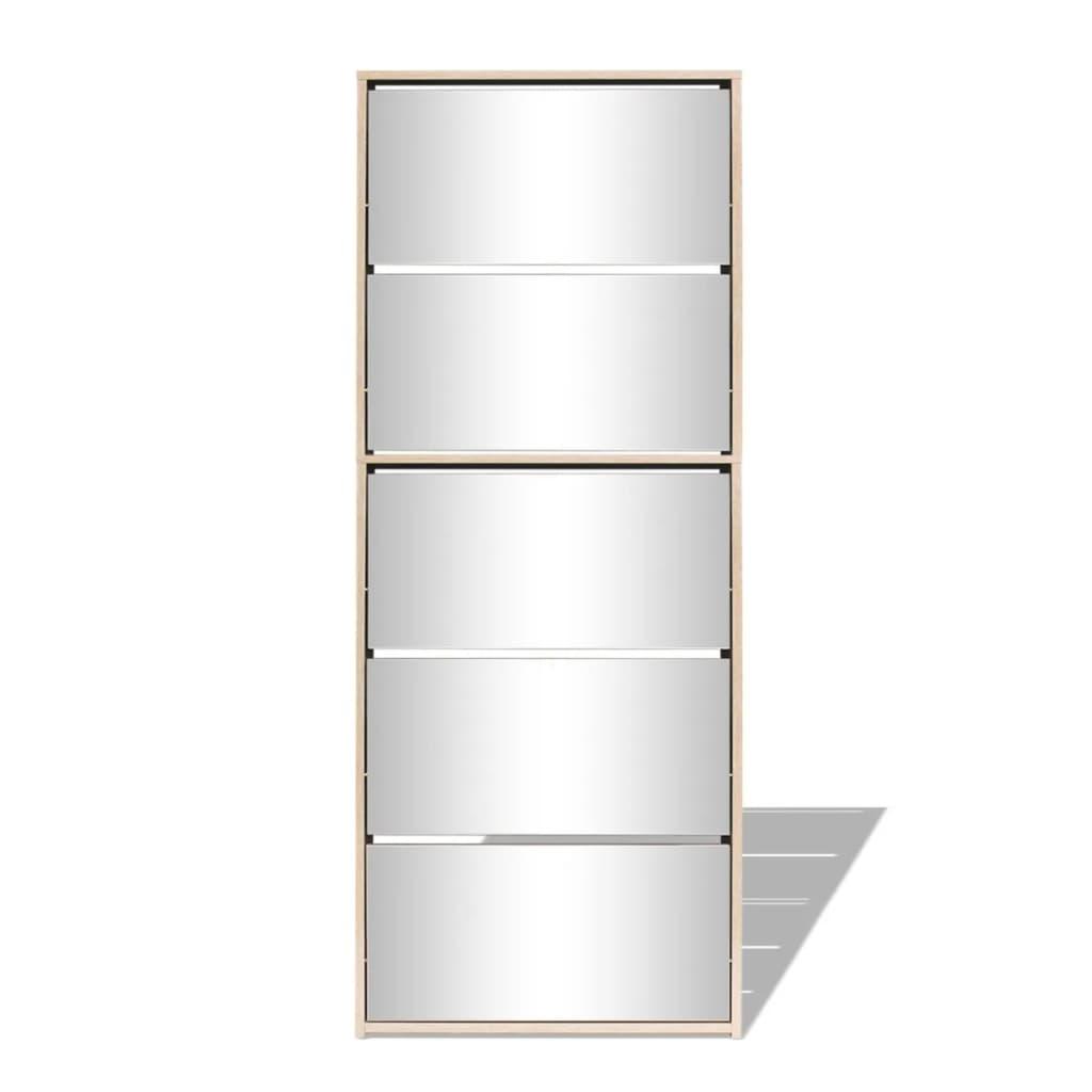 Vidaxl mueble zapatero 5 cajones con espejo roble for Mueble zapatero con cajones