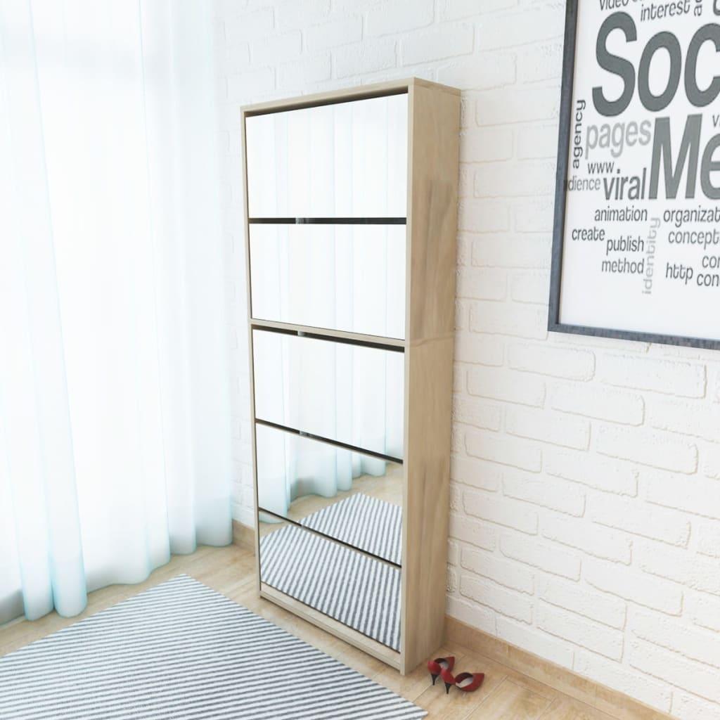 vidaXL 5 szintes tükrös tölgy cipőszekrény 63 x 17 169,5 cm