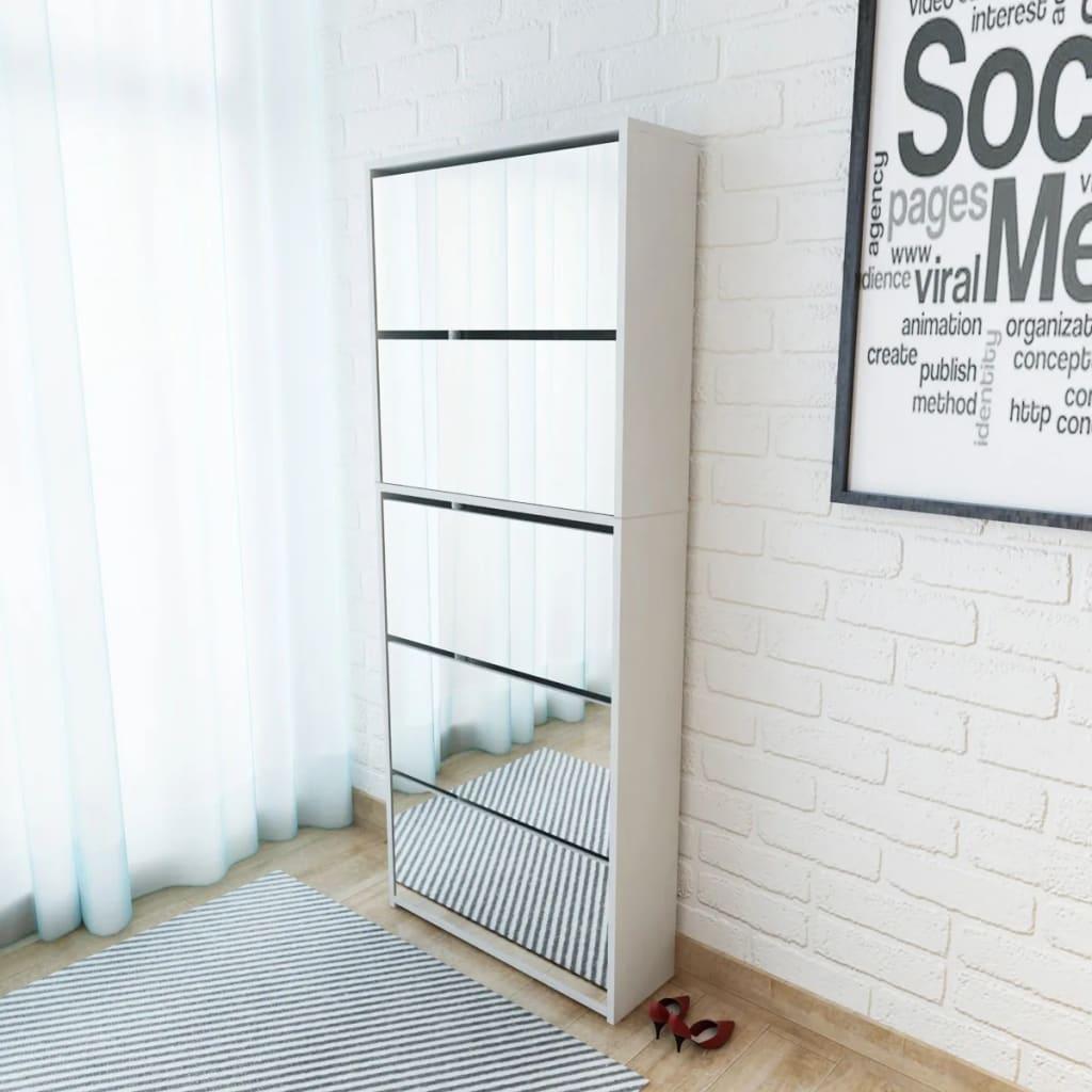 Vidaxl mueble zapatero 5 cajones con espejo blanco for Mueble zapatero con espejo