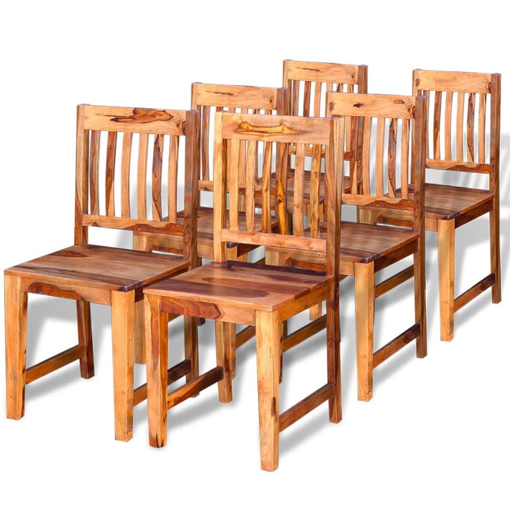Acheter vidaxl chaises de salle manger en bois de sheesham massif 6 pi ces pas cher - Chaises salle a manger bois ...