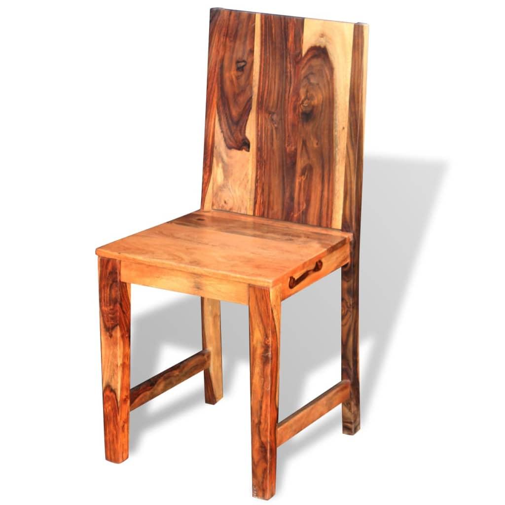 Vidaxl sillas de comedor de madera maciza de sheesham 6 for Comedor de madera 6 sillas