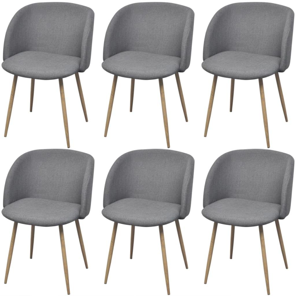 acheter vidaxl chaises de salle manger 6 pi ces gris clair pas cher. Black Bedroom Furniture Sets. Home Design Ideas