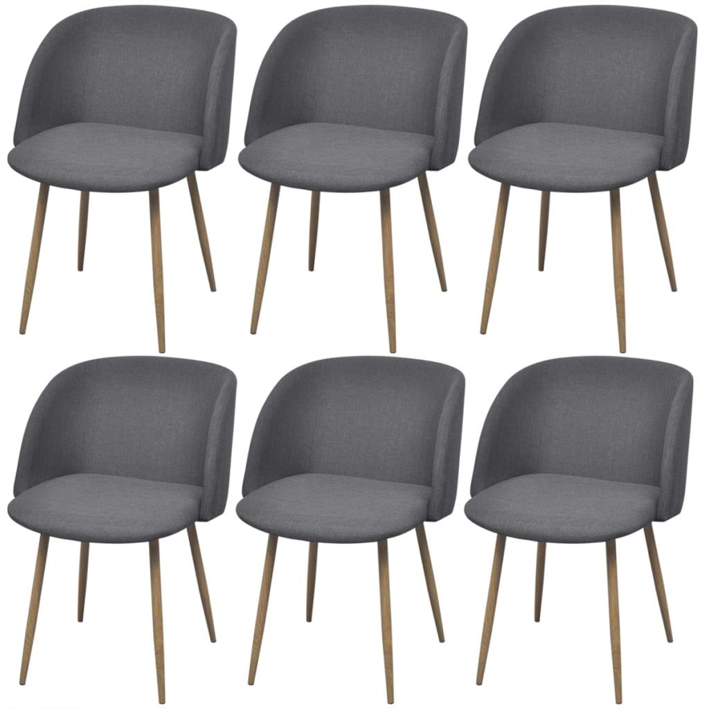 vidaXL Krzesła do jadalni 6 szt w kolorze ciemnym szarym