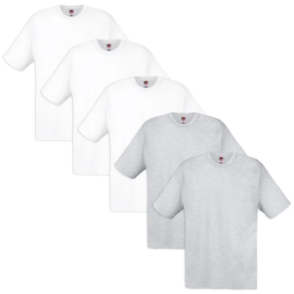 5 fruit of the loom original t shirt 100 katoen wit en grijs s - Gang wit en grijs ...
