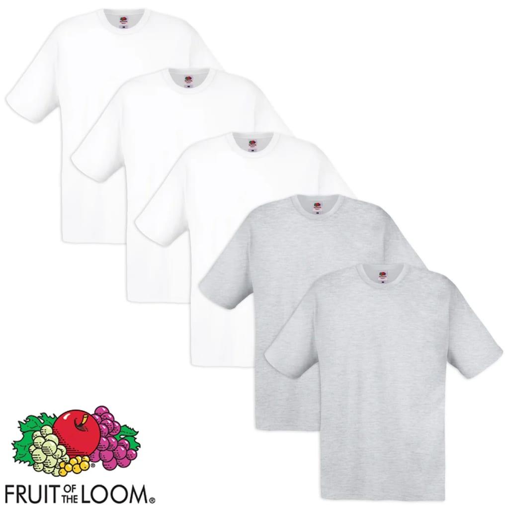Fruit of the Loom 5 db fehér és szürke pamut eredeti póló S