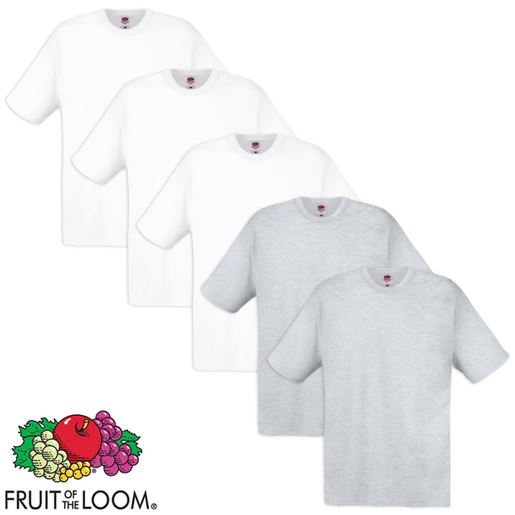 Fruit of the Loom 5 db eredeti póló pamut fehér és szürke M