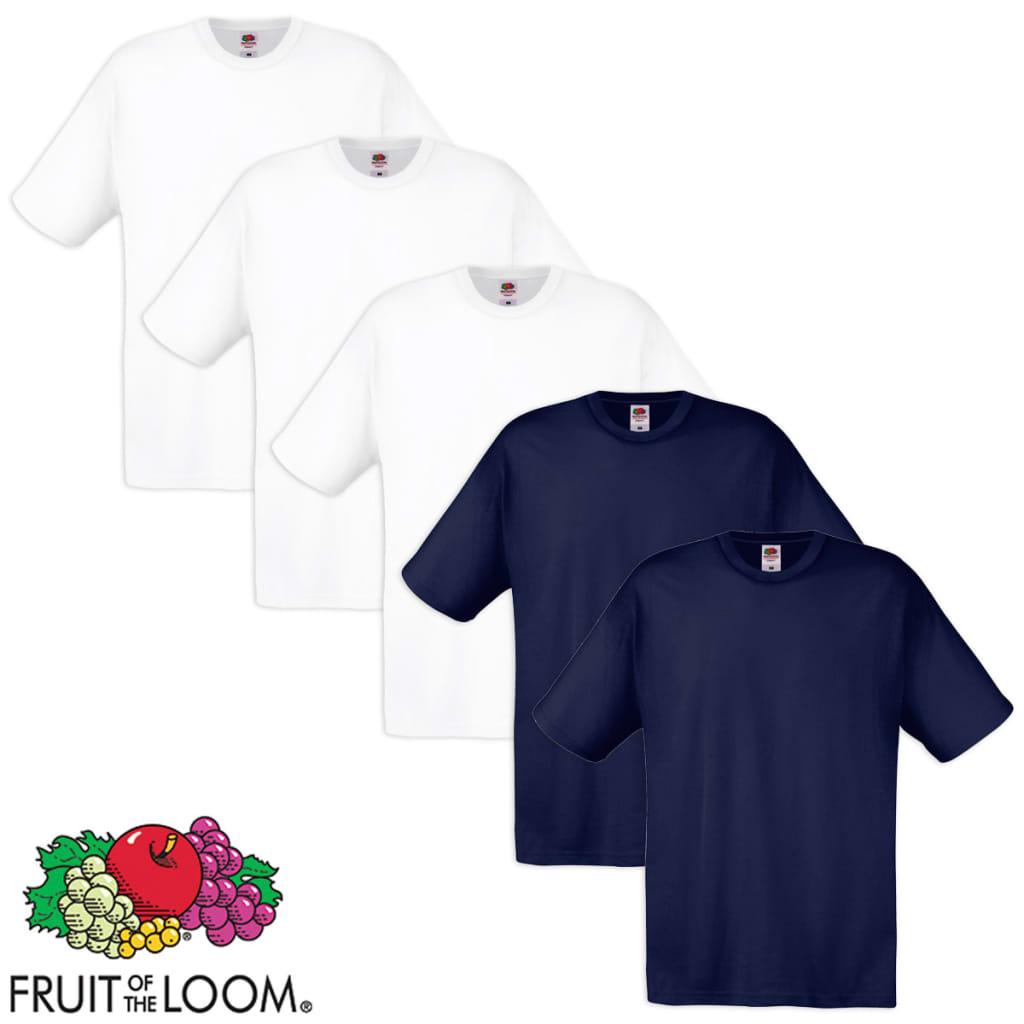 Fruit of the Loom 5 db fehér és tengerészkék 100% pamut eredeti póló