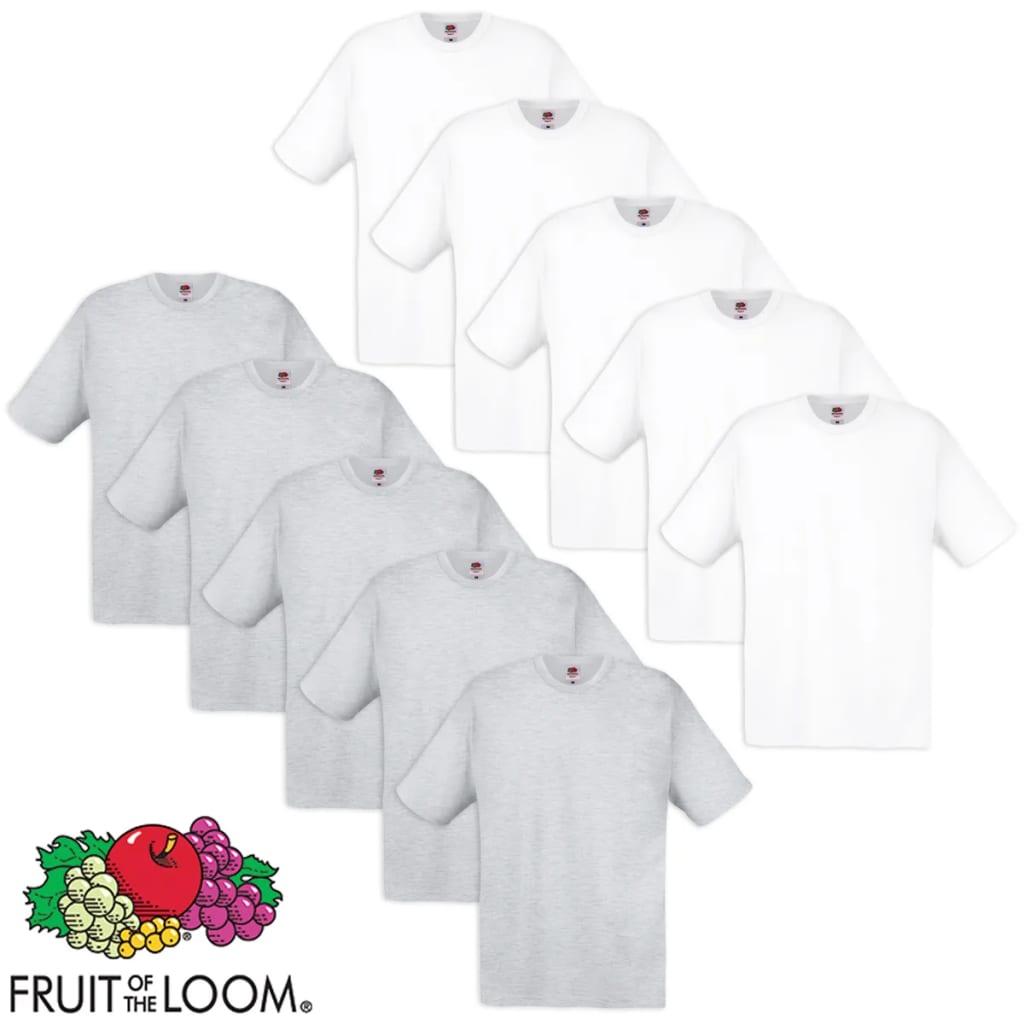 Fruit of the Loom 10 db 100% pamut eredeti póló fehér és szürke
