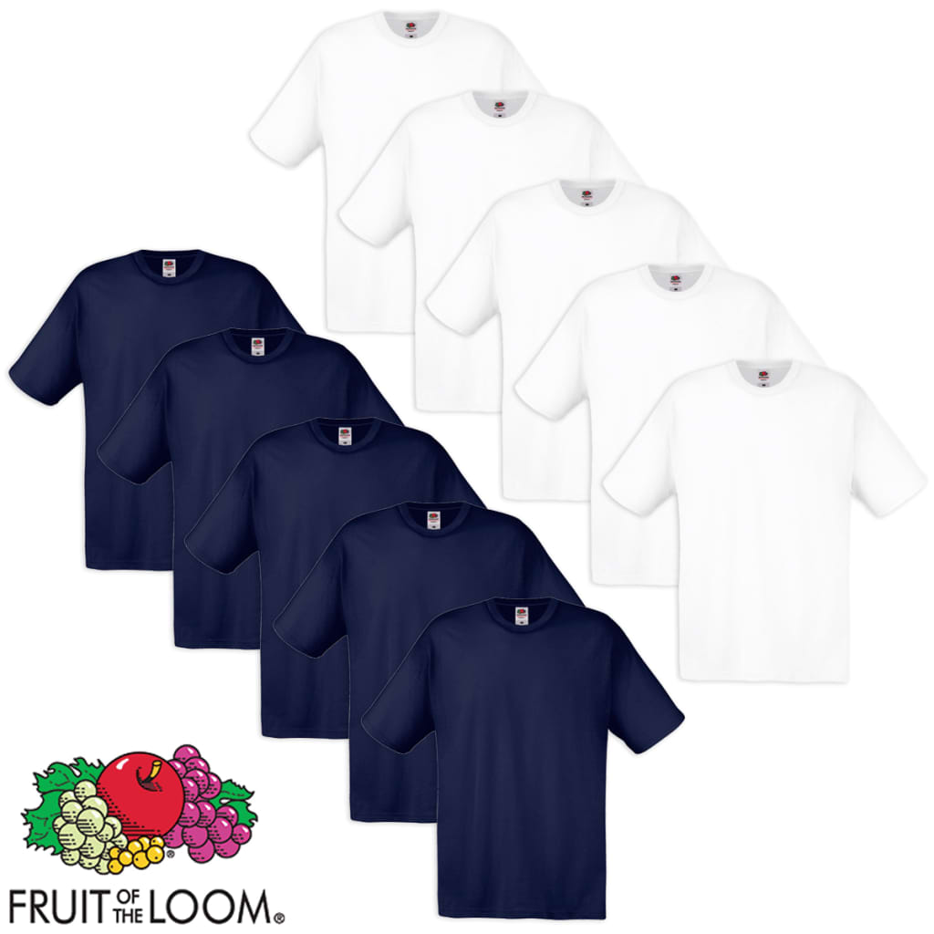 Fruit of the Loom 10 db fehér és tengerészkék 100% pamut eredeti póló