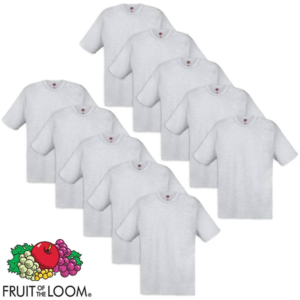 10 fruit of the loom original t shirt 100 cotton grey m. Black Bedroom Furniture Sets. Home Design Ideas