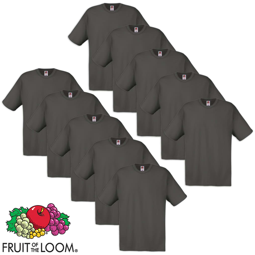 Fruit-of-the-Loom-10-Magliette-Uomo-Originali-100-Cotone-Grigio-Grafite-XXL