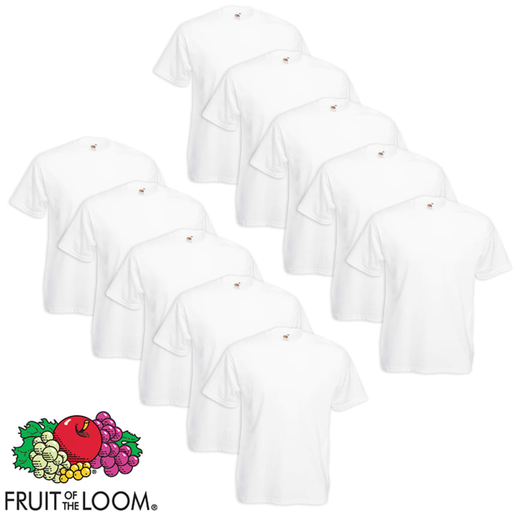 Fruit-of-the-Loom-10-Magliette-Canotte-Value-Weight-Bianche-Taglia-4XL